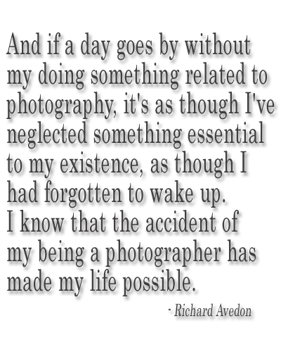 And if a day goes by without my doing something related to photography, it's as though I've neglected something essential to my existence, as though I had forgotten to wake up. I know that the accident of my being a photographer has made my life possible.